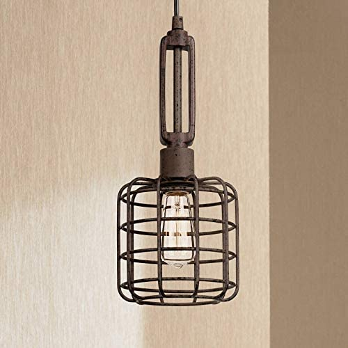 Rust Cage Mini Pendant Light 7 Wide Modern Industrial Rustic Fixture