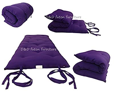 "D&D Futon Furniture Brand New Queen Size Purple Traditional Japanese Floor Futon Mattresses, Foldable Cushion Mats, Yoga, Meditaion 60"" Wide X 80"" Long"