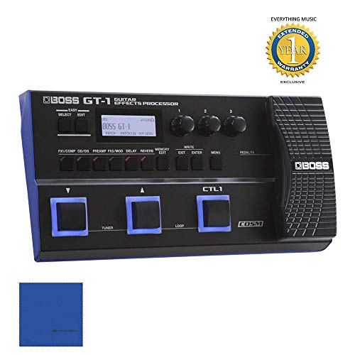 Boss Me25 Guitar - Boss GT-1 Guitar Multi-Effects Processor with Microfiber and Free EverythingMusic 1 Year Extended Warranty