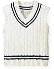 Hope & Henry Boys' Navy Cable Sweater Vest Made Organic Cotton