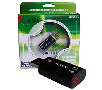 POWER STAR Tarjeta sonido externa USB CS-USB-N + Caja de ...