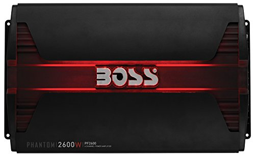 BOSS AUDIO PF2600 Phantom 2600 Watt, 4 Channel, 2/4 Ohm Stable Class A/B, Full Range, Bridgeable, MOSFET Car Amplifier with Remote Subwoofer Control ()