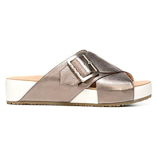 Dr. Scholls Original Collection Womens Flight Slide Sandal Pewter Leather NEYe0AGtJh