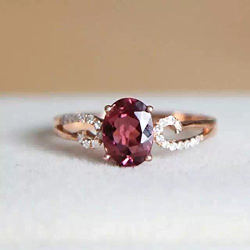 - 1.12 Carat Rhodolite Garnet Engagement Ring In 14K Rose Gold