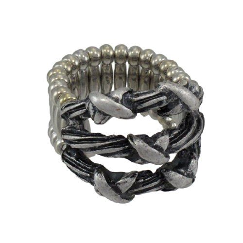Tiffany Bangle Ring - Metal Rings Silvertone Barbed Wire Stretch Ring Silver