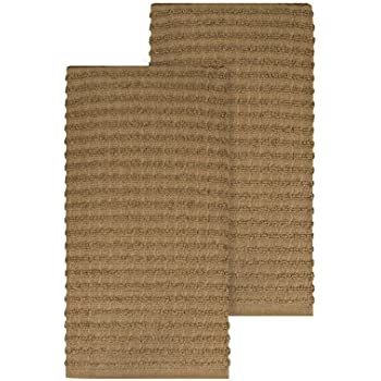 "Ritz Royale Collection 100% Combed Terry Cotton, Highly Absorbent, Oversized, Kitchen Towel Set, 28"" x 18"", 2-Pack, Solid Mocha Brown"