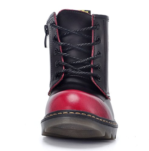 Kid Leather DADAWEN Lace Girl's Little Up Ankle Fur Boy's Big without Toddler Boot Zipper Kid Side Red FwEO1HqE