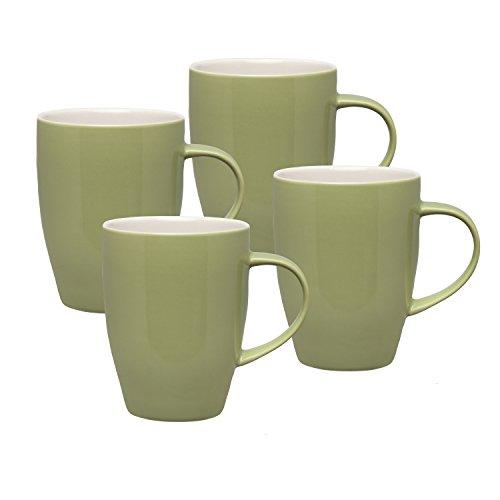 HIC Dinnerware Coffee Tea Mugs, Ceramic Stoneware, Sage, 12-Ounces, Set of 4 Mugs