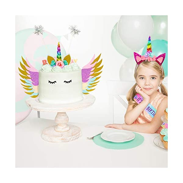 Unicorn Birthday Girl Set, Beinou Shiny Unicorn Headband and Birthday Girl Sash Set Perfect Unicorn Birthday Party Supplies 6