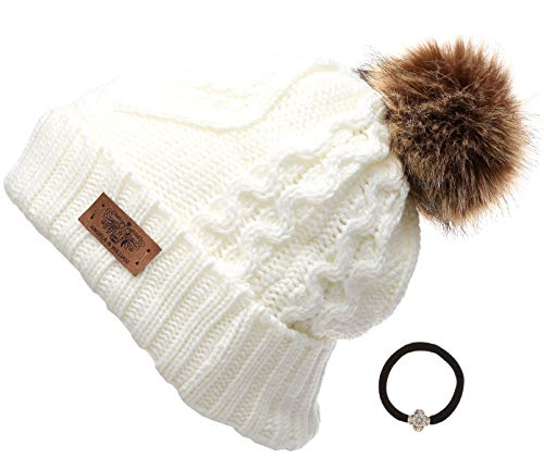 - Women's Winter Fleece Lined Cable Knitted Pom Pom Beanie Hat with MIRMARU Hair Tie.(Ivory)