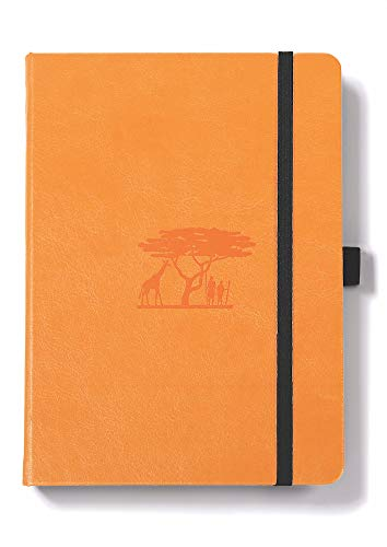 Dingbats Earth Notebook Medium A5+ (6.2 x 8.5), Hardcover, PU Leather, 100gsm Coated Paper, Numbered, Pocket, Pen Holder, 2 Bookmarks (Dotted, Tangerine - Serengeti)