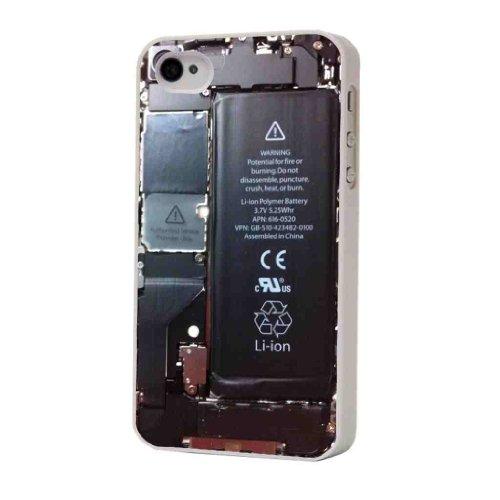 """Cadre blanc pour iphone 4 Inscription intérieur d """"un iphone 4 4S-look Coque pour iphone 4/4S en plastique/métal"""