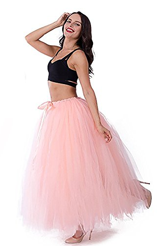 Party Train 100 cm Long Adult Puffy Tutu Tulle Skirt For Women Floor Length Wedding Party Skirts Peach free size ()