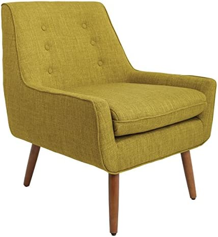 Work Smart Rhodes Chair, Green Fabric with Coffee Legs