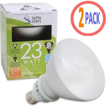Fluorescent Flood Light Bulb 23 Watt SSL22 CFL R40 R-40 R 40 Warm White 2700K 23W 2-Pack ()