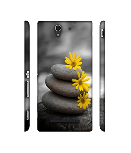 Casotec Stones and Flower Designer 3D Printed Hard Back Case Cover for Sony Xperia C3 Dual