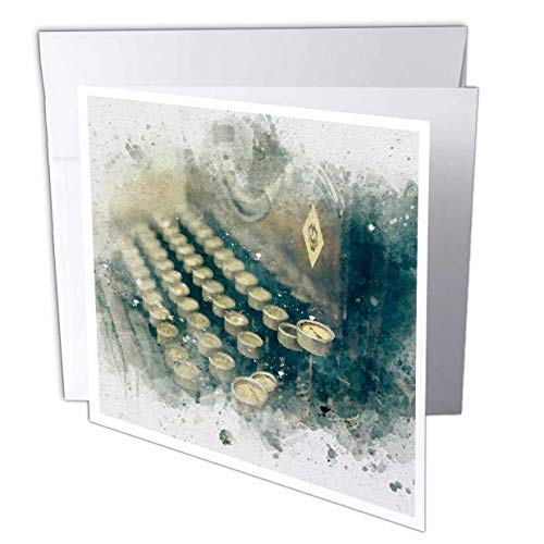 3dRose Anne Marie Baugh - Impressionist Mixed Media Art - Image of Watercolor Vintage Typewriter Art - 6 Greeting Cards with envelopes (gc_318662_1)