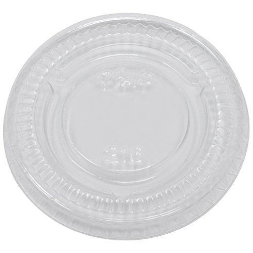 Simply Deliver Lid for 0.5 oz to 1 oz Soufflé Portion Cups, Clear PET, 5000-Count -