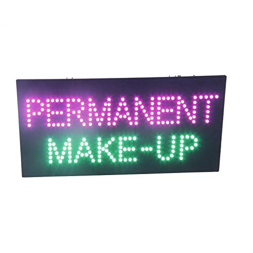 LED Permanent Make Up Cosmetics Open Light Sign Super Bright Advertising Display Board for Eyebrow Lash Microblading Spa Business Shop Store Window Bedroom Decor 19 x 10 inches (Pink) ()