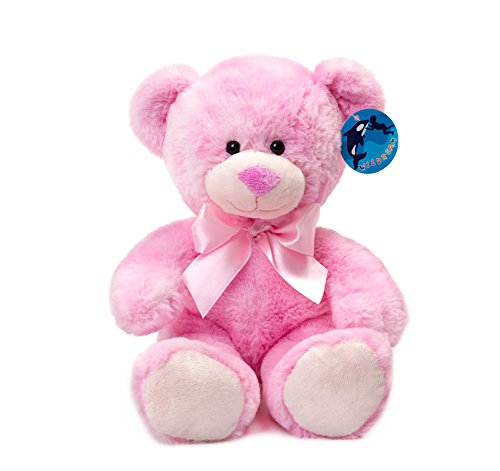 WILDREAM Pink Teddy Bear Stuffed Animal Plush in Sitting Position 9.8