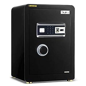 Ainfox Digital Security Safe Box, 2 Cubic Feet Cabinets Fingerprint Biometric Wall Safe Lock Box Cash Strongbox with Number Keys Emergency Lock