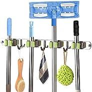 Broom Mop Holder Wall Mount Stainless Steel Tool Hanger Organizer and Storage for Home, Kitchen, Garden, Garag