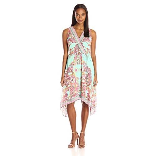 a8619a8bf5e0d Sandra Darren Women s 1 Pc Sleeveless V-Neck Faux Wrap Chiffon Dress hot  sale