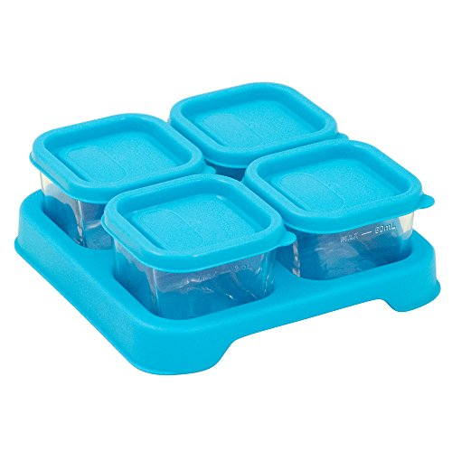 Price comparison product image Green Sprouts Reusable Baby Food Glass Containers Freezer Cubes (2oz / 4pk)-Aqua