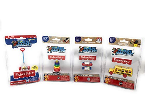 World's Smallest Fisher-Price Gift Bundle Set of 4 Corn Popper - Rock-a-Stack - Little People School Bus - Chatter Telephone by Worlds Smallest