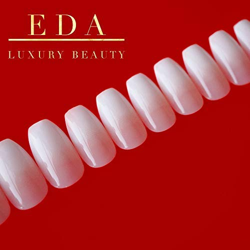 EDA LUXURY BEAUTY NATURAL NUDE PINK OMBRE WHITE FRENCH GLAMOROUS DESIGN Gel Glitter Press On Artificial Nail Tips Shiny Acrylic False Nails Extra Long Ballerina Square Coffin Super Fashion Fake Nails