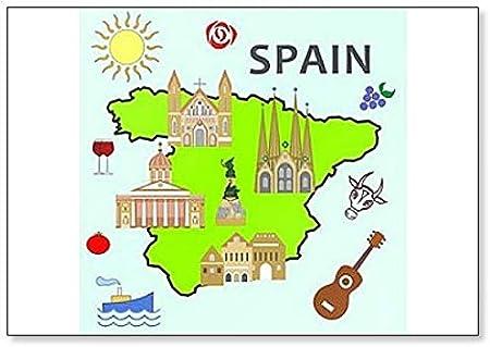 Imán para nevera con diseño de símbolos y atracciones de España: Amazon.es: Hogar