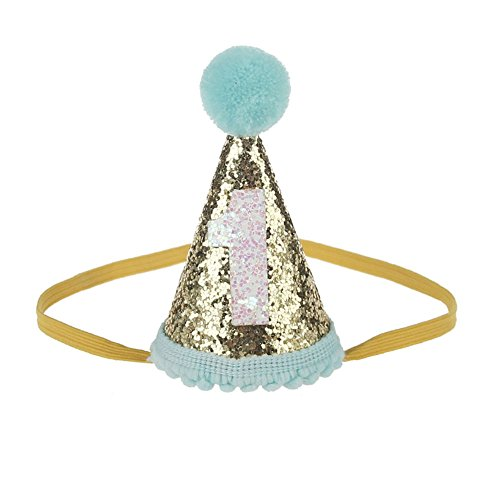 - MinXiao Infant Baby Birthday Cap Hairband Birthday Crown Hat Cute Boys Girls Party 3rd Sequined Lovely Accessory