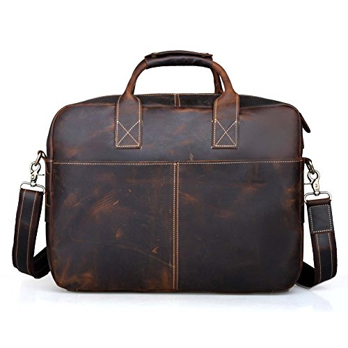UBaymax Men Genuine Leather Vintage Business Briefcase Bag With Shoulder Strap Messenger Laptop Handbag Portfolio For 15.6 inch HP Acer Asus Dell Samsung MSI Lenovo Macbook (Brown) by UBAYMAX
