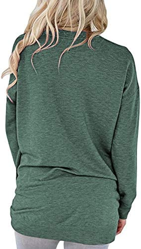 PLOKNRD Women Casual Round Neck Long Sleeve Fit Tunic Top Baggy Comfy Blouse with Pockets