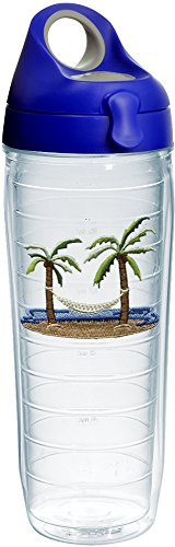 Tervis 1231790 Palm Tree & Hammock Scene Tumbler with Emblem and Blue with Gray Lid 24oz Water Bottle, Clear