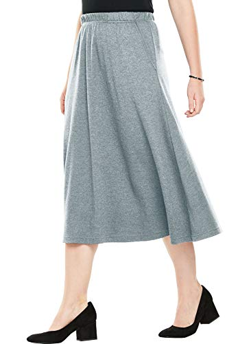 - Woman Within Women's Plus Size 7-Day Knit A-Line Skirt - Medium Heather Grey, L