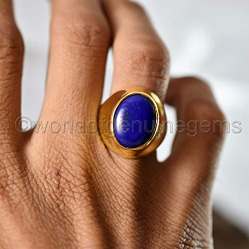 (afghani lapis lazuli gemstone ring for men, yellow gold 925 sterling silver custom ring, september birthstone jewelry, lapis gemstone lapis lazuli handmade jewelry)