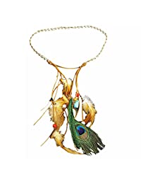 BODYA Fashion Indian Exotic Boho Vacation Turquoise Bead Feather Leather Navajo Zuni Headband Hair Dress Band Belt Tie