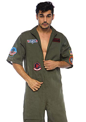 Leg Avenue Mens Top Gun Licensed Flight Suit, Khaki, Large
