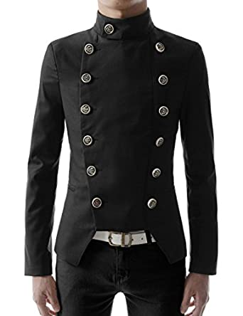 Men's Steampunk Jackets, Coats & Suits High neck Slim fit Short Jacket  AT vintagedancer.com