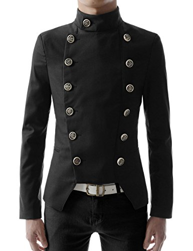 TheLees (NJK4 Mens Casual Double Breasted High neck Slim fit Short Jacket Black US L(Tag size - Breasted Coat Double Military