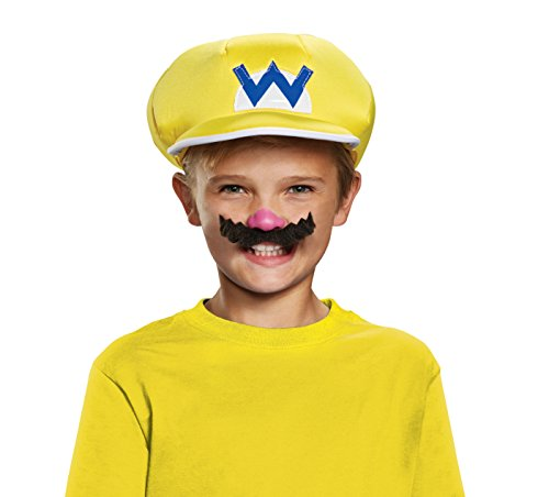 Wario Super Mario Bros. Nintendo Child Hat & Mustache, One Size Child