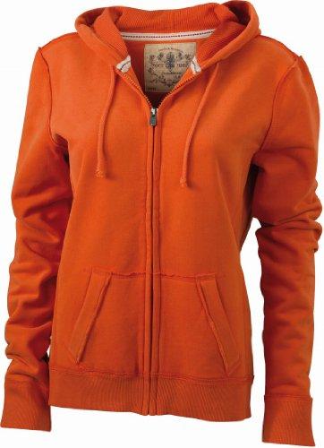 James & Nicholson JN942 Ladies Vintage Wash Hoodie Sweat Jacket Dark-orange