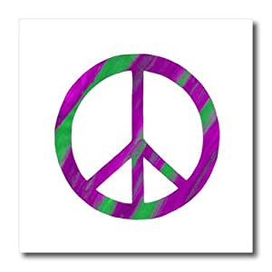 ht_18960_1 CherylsArt Signs Peace - Pink Green Peace Sign - Iron on Heat Transfers - 8x8 Iron on Heat Transfer for White Material