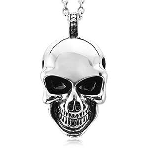 MunkiMix Acero Inoxidable Colgante Collar El Tono De Plata Cráneo Calavera Hombre ,Cadena 58cm