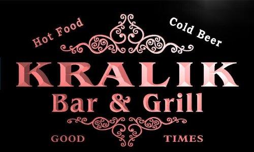 u24343-r KRALIK Family Name Bar & Grill Home Beer Food Neon Sign