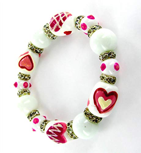 (Linpeng / Woman's Stretch Bracelet / Hand Painted Hearts Glass Beads with rhinestone spacer/ White & Pink / Beads sizes approx. 13x18mm / Length 7.5