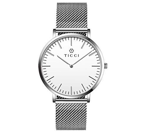 T1803 Quartz Wrist Watch Men Milanese Strap Stainless Steel Mesh Band Waterproof Wristwatch Japan Movement (Silver White Dial)