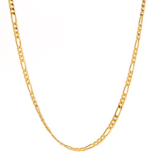 Lifetime Jewelry Figaro Chain 2.5MM, 24K Gold with Inlaid Bronze, Pendant Necklace, Guaranteed for Life, 16 to 30 Inches (22k Gold Necklace Set)