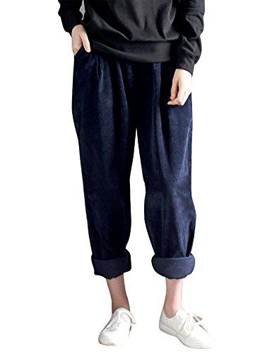 IDEALSANXUN Women's Retro Thick Corduroy Elastic Waist Loose Fit Casual Harem Pants Trousers (Medium, Blue) - Corduroy Trousers